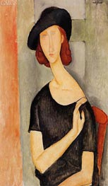 Jeanne Hebuterne in a Hat, c.1919 by Modigliani | Painting Reproduction