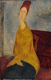 Jeanne Hebuterne with Yellow Sweater, c.1918/19 von Modigliani | Gemälde-Reproduktion