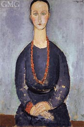 Frau mit einer roten Halskette | Modigliani | Gemälde Reproduktion