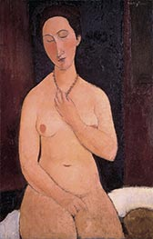 Sitting Nude with Necklace, 1917 by Modigliani | Painting Reproduction