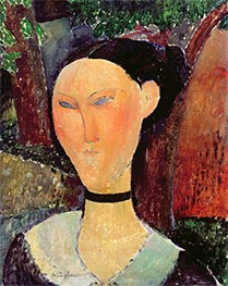 Woman with Velvet Ribbon, 1915 by Modigliani | Painting Reproduction