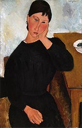 Elvira Resting at a Table, 1919 by Modigliani | Painting Reproduction