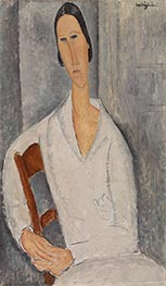 Madame Hanka Zborowska Leaning on a Chair, 1919 by Modigliani | Painting Reproduction