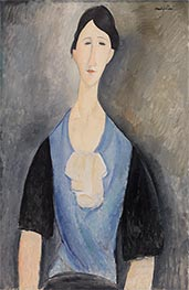 Young Woman in Blue, 1919 by Modigliani | Painting Reproduction