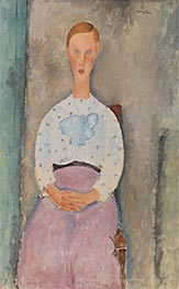 Girl with a Polka-Dot Blouse, 1919 by Modigliani | Painting Reproduction