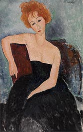Redheaded Girl in Evening Dress, 1918 by Modigliani | Painting Reproduction