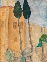 Zypressen und Häuser in Cagnes, 1919 von Modigliani | Gemälde-Reproduktion