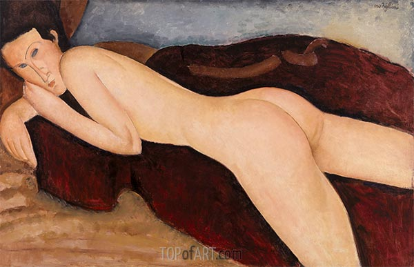 Reclining Nude from the Back (Nu couche de dos), 1917 | Modigliani | Gemälde Reproduktion