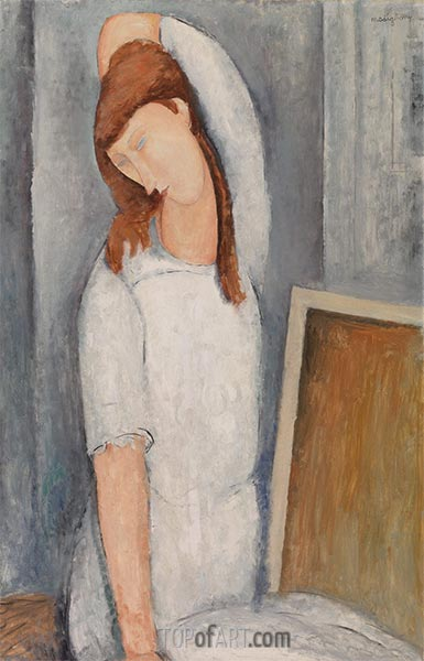 Portrait of Jeane Hebuterne, Left Arm behind Head, 1919 | Modigliani | Painting Reproduction