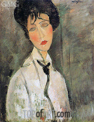 Portrait of a Woman in a Black Tie, 1917 | Modigliani | Painting Reproduction