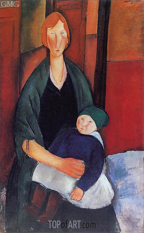 Seated Woman with Child, 1919 | Modigliani | Gemälde Reproduktion