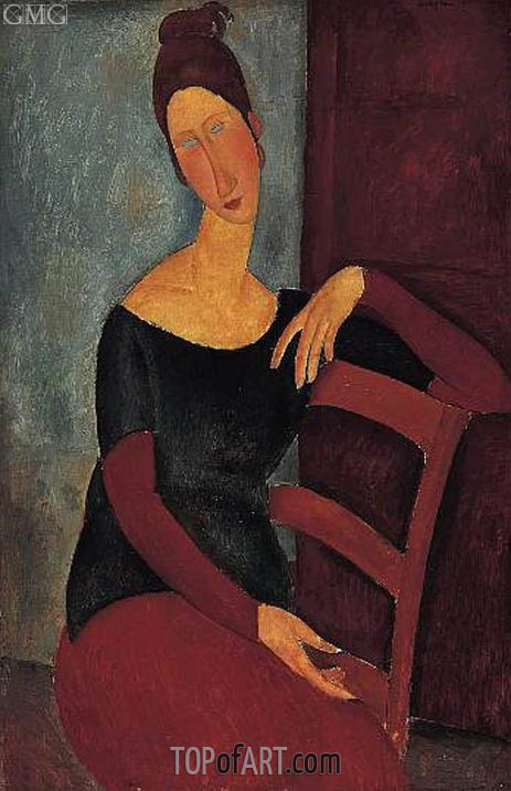 Portrait of the Artist's Wife, Jeanne Hebuterne, 1918 | Modigliani | Painting Reproduction