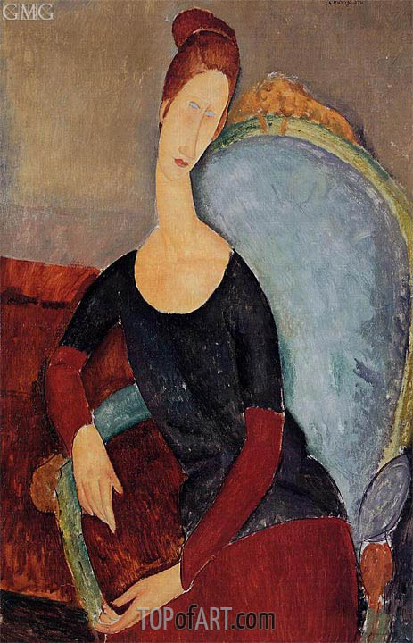 Portrait of Jeanne Hebuterne Seated in an Armchair, 1918 | Modigliani | Gemälde Reproduktion