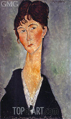 Bust of a Woman with a Necklace, 1918 | Modigliani | Painting Reproduction