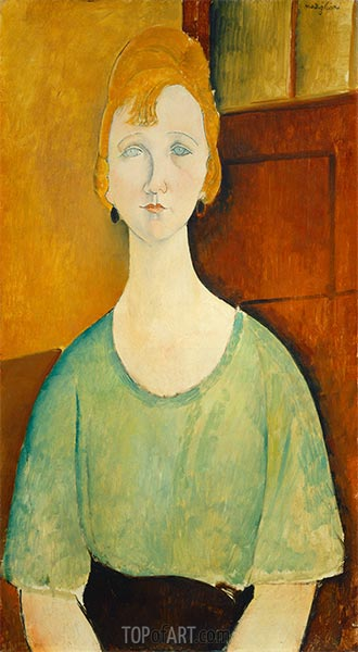 Girl in a Green Blouse, 1917 | Modigliani | Painting Reproduction