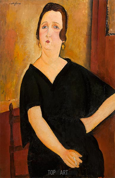 Madame Amédée (Woman with Cigarette), 1918 | Modigliani | Painting Reproduction