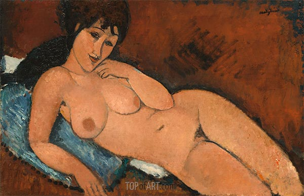 Nude on a Blue Cushion, 1917 | Modigliani | Painting Reproduction