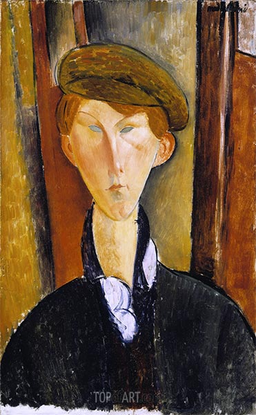 Young Man with a Cap, 1919 | Modigliani | Painting Reproduction