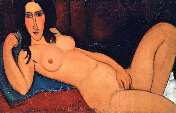 Reclining Nude with Loose Hair, 1917   Modigliani   Painting Reproduction