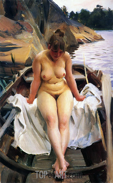 In Werner's Rowing Boat, 1917 | Anders Zorn | Painting Reproduction