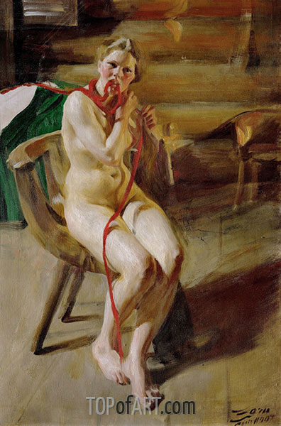 Anders Zorn | Nackt Geflecht ihr Haar, 1907
