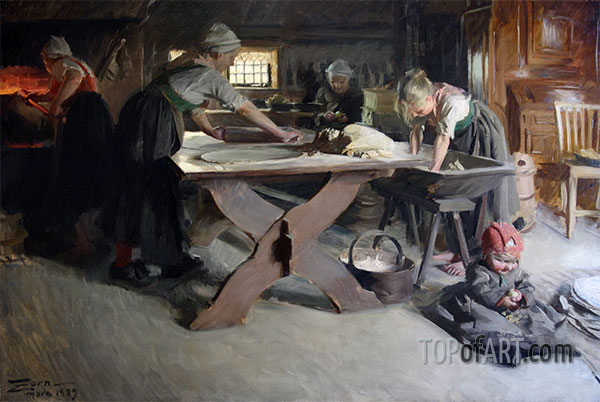Baking Bread, 1889 | Anders Zorn | Painting Reproduction