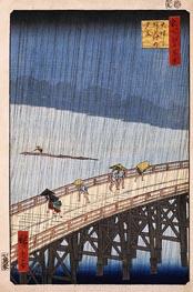 Plötzliche Dusche über Shin-Ohashi Brücke und Atake, 1857 von Ando Hiroshige | Gemälde-Reproduktion