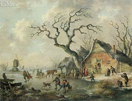 A Winter Landscape with Figures Skating on a Frozen Waterway, 1799 by Andries Vermeulen | Painting Reproduction