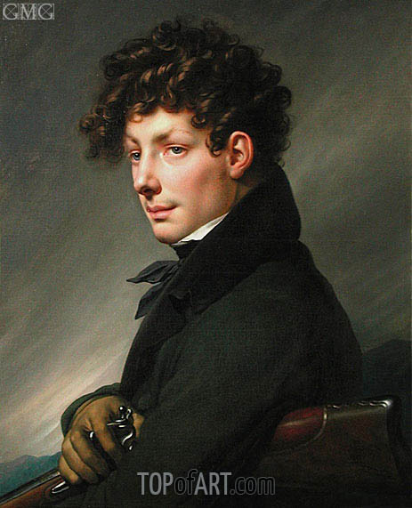 Man's Portrait in Hunter, 1811 | Girodet de Roussy-Trioson | Painting Reproduction