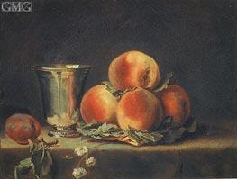 Still Life with Peaches and Silver Mugs | Vallayer-Coster | outdated