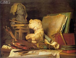 Attributes of Painting, Sculpture and Architecture, 1769 by Vallayer-Coster | Painting Reproduction