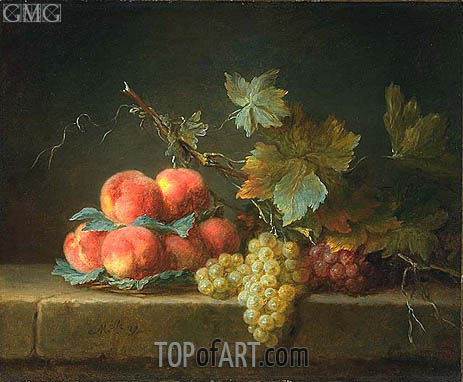 Still Life with Peaches and Grapes, 1779 | Vallayer-Coster | Painting Reproduction