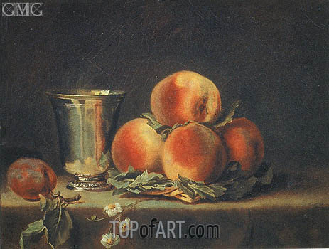 Vallayer-Coster | Still Life with Peaches and Silver Mugs, 1797
