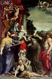 Madonna Enthroned with St. Matthew, 1588 by Annibale Carracci | Painting Reproduction
