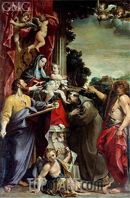 Madonna Enthroned with St. Matthew, 1588 | Annibale Carracci | Gemälde Reproduktion