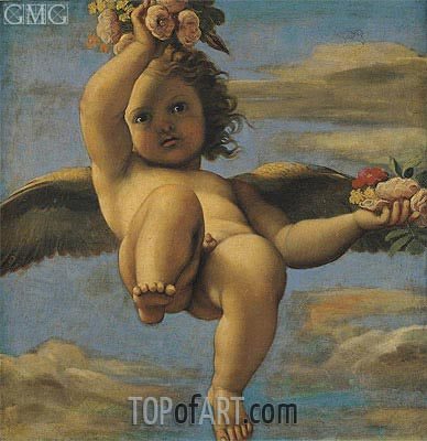 A Cherub Carrying Flowers,  | Annibale Carracci | Gemälde Reproduktion