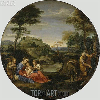 Holy Family (Rest on the Flight into Egypt), c.1604 | Annibale Carracci | Painting Reproduction