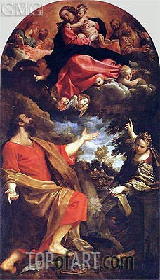 The Virgin Appearing to St. Luke and St. Catherine, 1592 | Annibale Carracci | Painting Reproduction