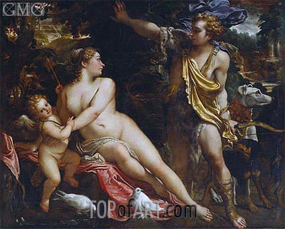 Venus, Adonis and Cupid, c.1590 | Annibale Carracci | Painting Reproduction