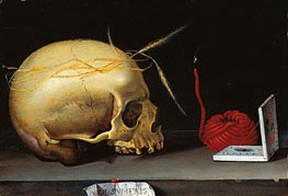 Vanitas Still Life with Skull, Wax Jack and Pocket Sundial, c.1620 von Anonymous German Master | Gemälde-Reproduktion