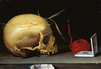 Vanitas Still Life with Skull, Wax Jack and Pocket Sundial, c.1620 | Anonymous German Master | Gemälde Reproduktion