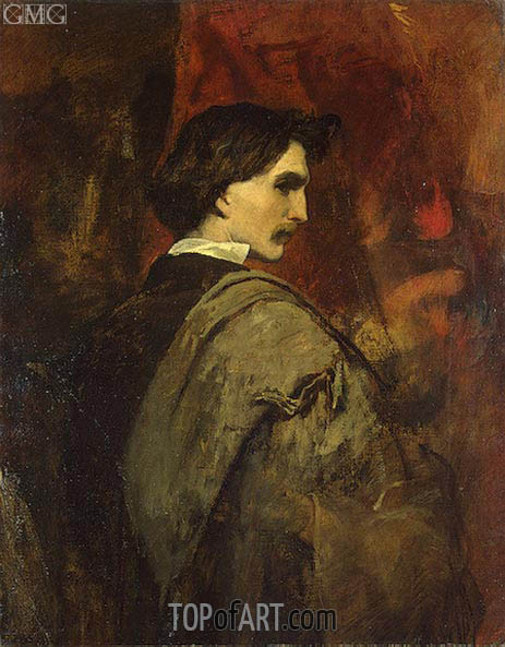 Self-Potrait, c.1854/58 | Anselm Feuerbach | Painting Reproduction