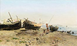 On the Mergellina Shore, 1880 by Antonino Leto | Painting Reproduction