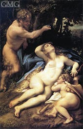 Venus, Satyr and Cupid | Correggio | Painting Reproduction