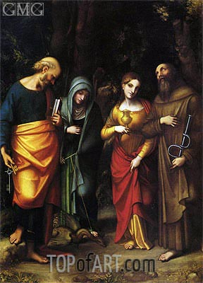 Saints Peter, Martha, Mary Magdalene and Leonard, c.1514/16 | Correggio | Painting Reproduction
