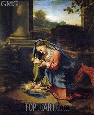 Our Lady Worshipping the Child, c.1525 | Correggio | Painting Reproduction