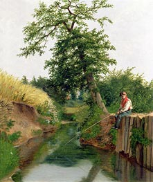 A Boy Fishing, undated by Arthur Hughes | Painting Reproduction