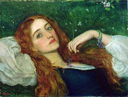 In the Grass, undated by Arthur Hughes | Painting Reproduction