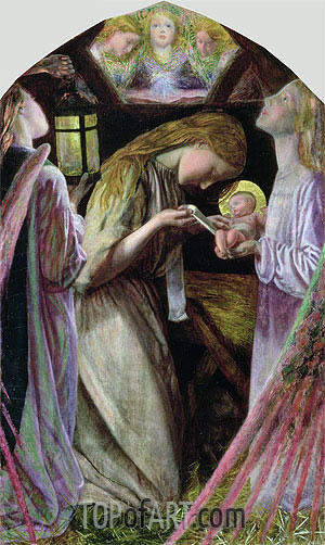 The Nativity, 1858 | Arthur Hughes | Gemälde Reproduktion