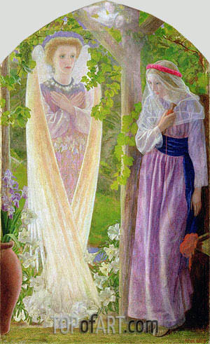 The Annunciation, c.1858 | Arthur Hughes | Painting Reproduction